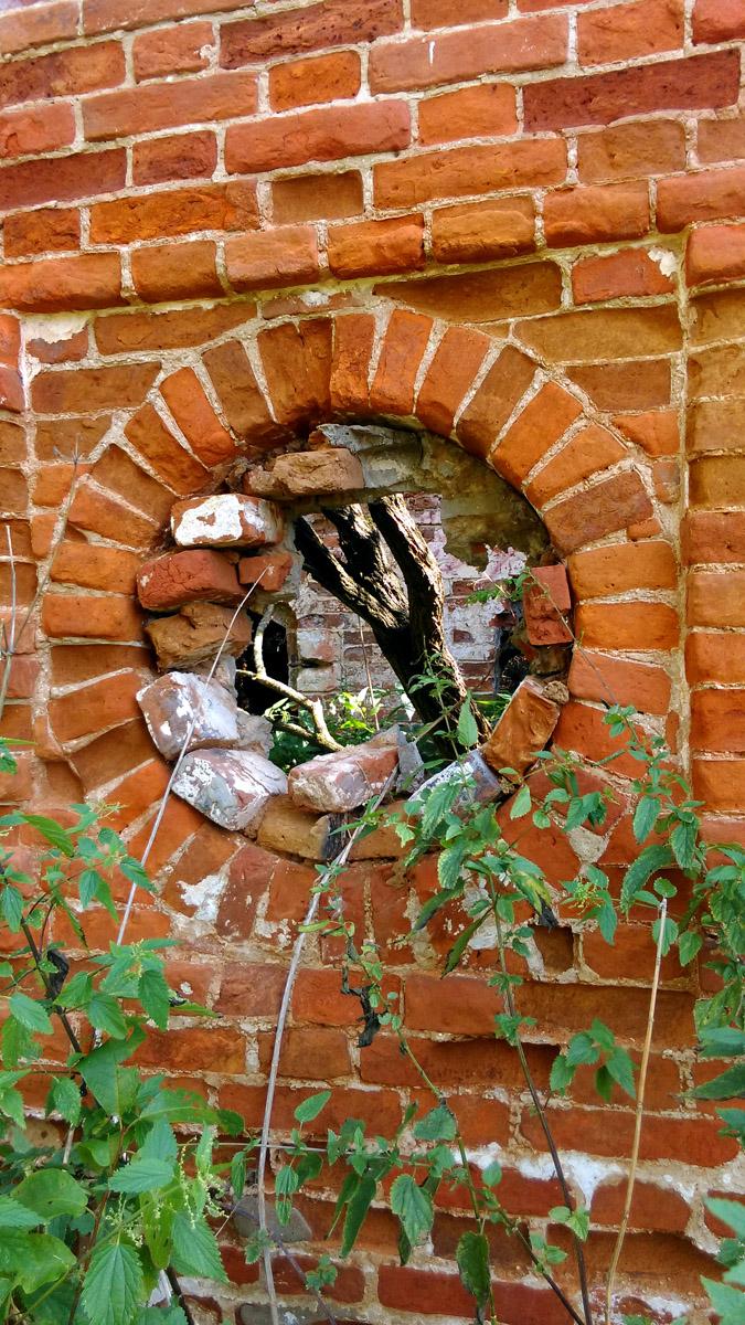 Круглые окна северного флигеля. За ними стена и....
