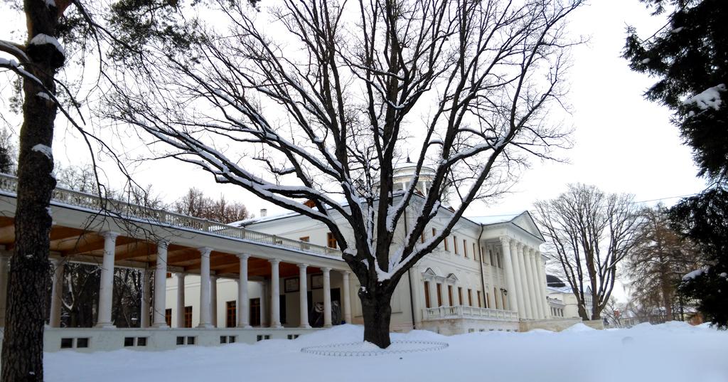 На заднем плане около второго дуба лиственница. Посажена в 1850-е гг. владельцем усадьбы Остафьево князем Петром Андреевичем Вяземским.