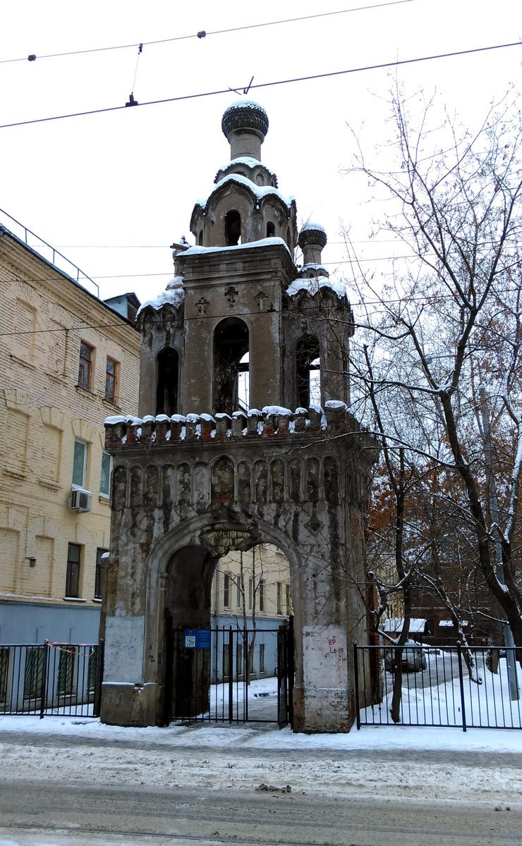 Колокольня бывшей церкви Великомученицы Екатерины во дворе дома И.И. Карасёва. Принадлежала Никольско-Рогожской общине.