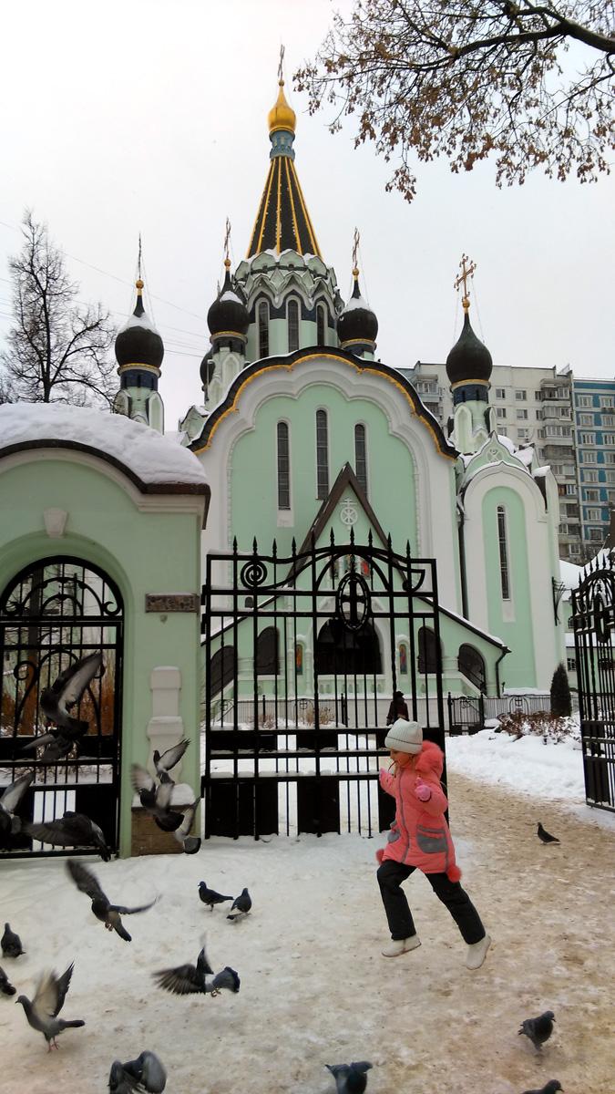 Девочка гоняет голубей у главных ворот Храма.