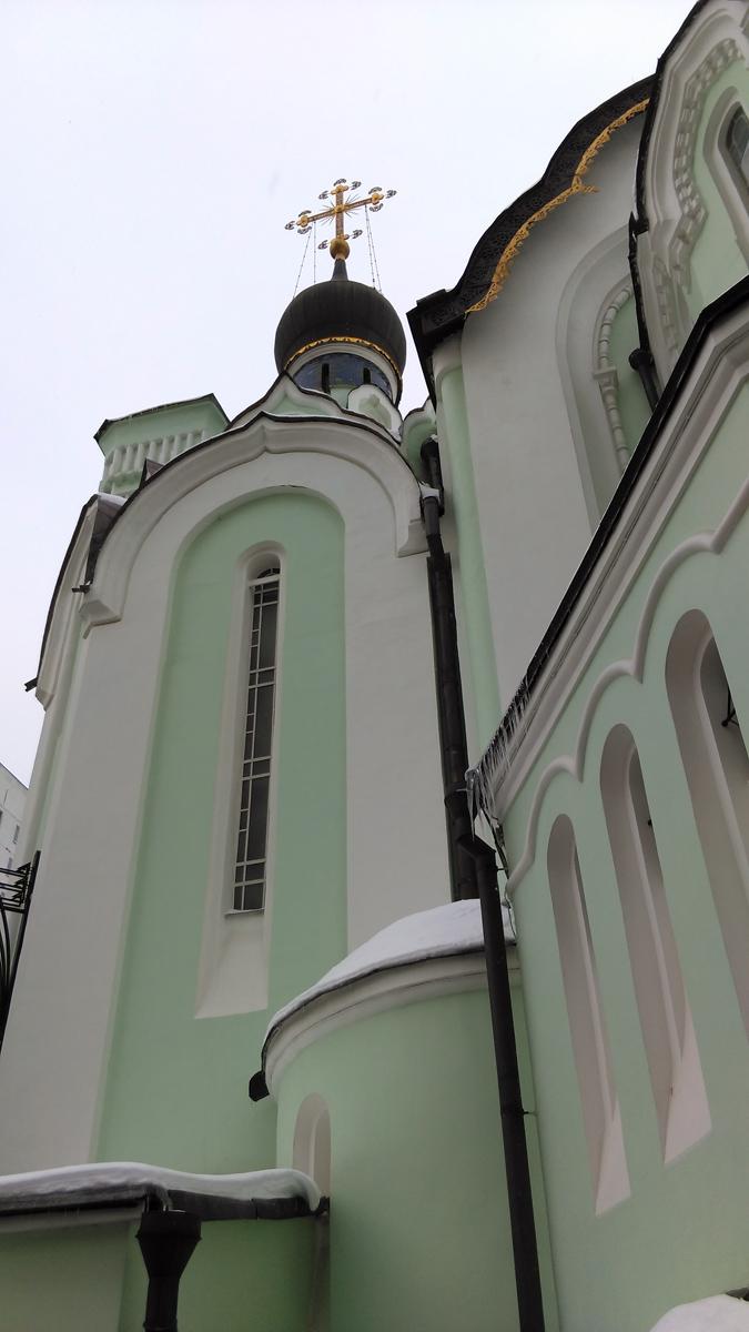Из девяти главок центральная позолочена, а остальные - чёрные. Барабаны главок опоясаны синей абрамцевской плиткой. На старых фотографиях видно, что изначально купола были светлые.