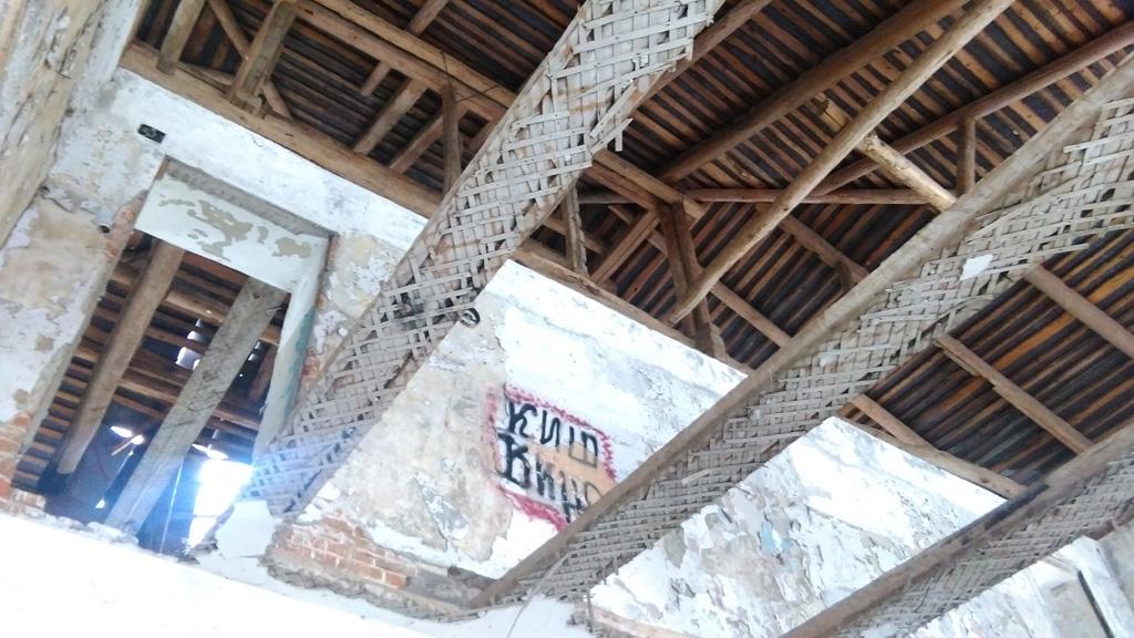 В отличии от флигелей, у главного здания сохранилась крыша.