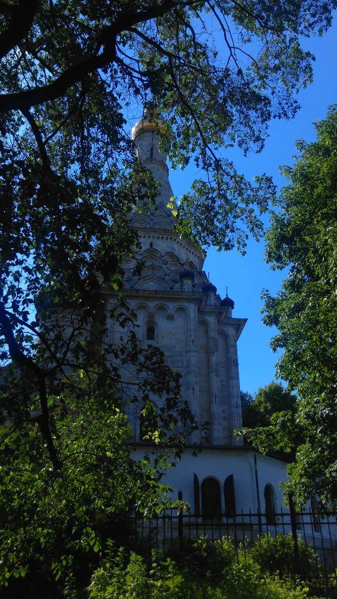 Храм почти со всех сторон окружен величественными деревьями.