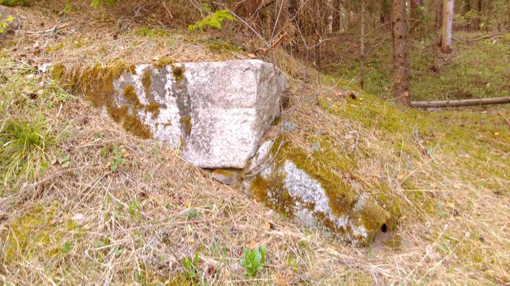 Идем собирать дрова и натыкаемся на остатки каменной постройки... В этом месте вдоль реки проходила каменная Государева дорога 17- го века постройки со множеством валунных мостов. Вот, как раз, руины одного из них мы и нашли...