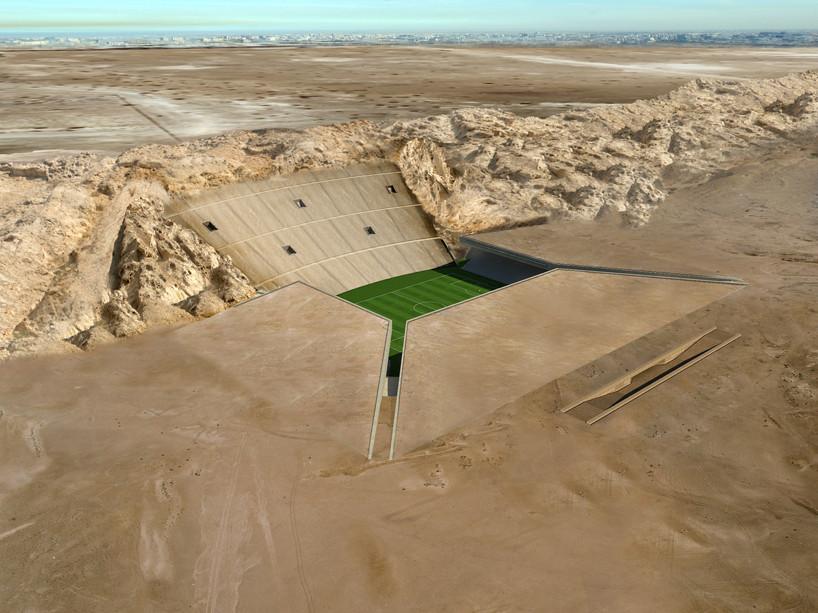 Стадион в камне по проекту архитекторов МЗ., Аль-Айн, ОАЭ, (1)