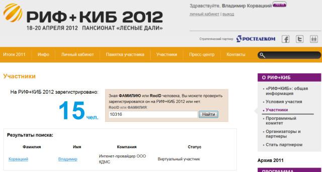 РИФ + КИБ 2012 Корвацкий регистрация под #16
