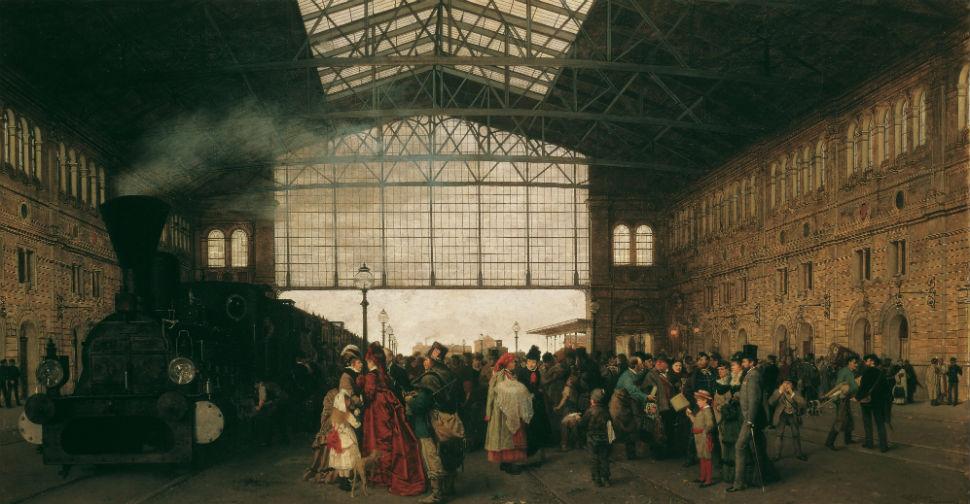 Карл Каргер - Прибытие поезда на венский вокзал - 1875.jpg