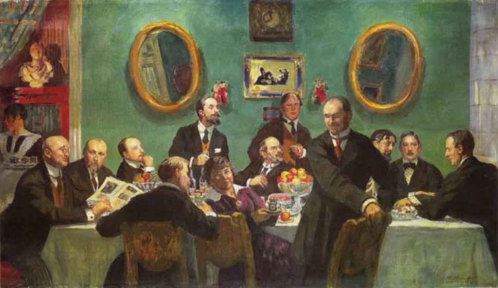Борис Кустодиев - Групповой портрет художников общества Мир искусства - 1920.jpg