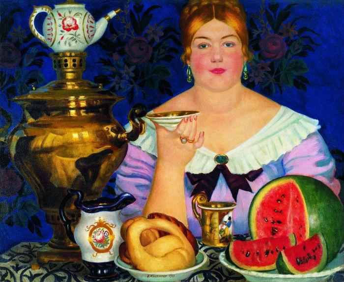 Борис Кустодиев - Купчиха пьющая чай - 1923.jpg
