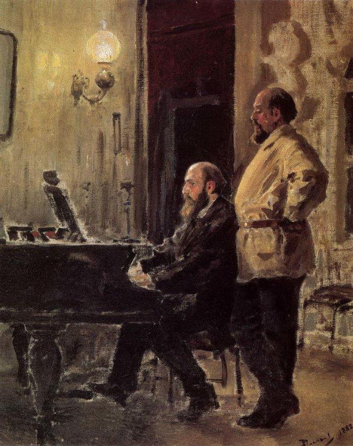 Василий Поленов - С И Мамонтов и П А Спиро у рояля - 1882.jpg