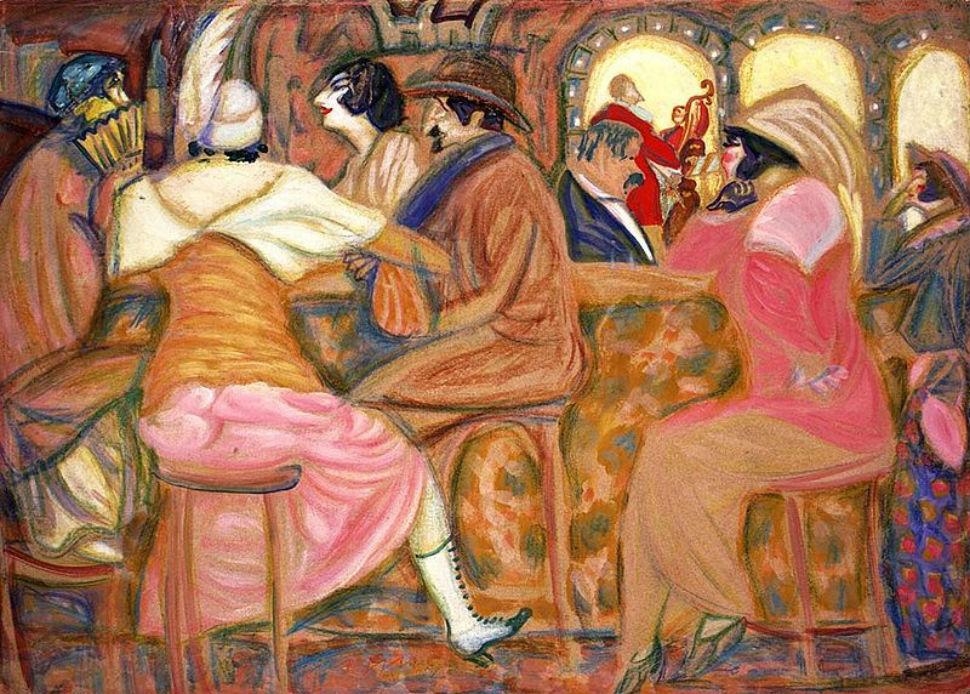 3-Борис Григорьев - В парижском кафе - 1914.jpg