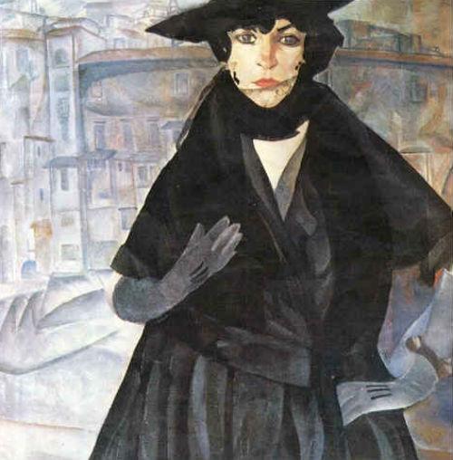6-Борис Григорьев - Дама в чёрном - 1917.jpg