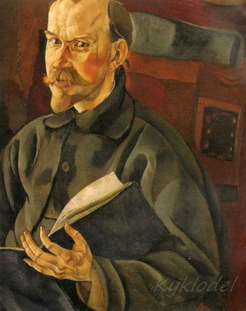 8-Борис Григорьев - Портрет художника Бориса Михайловича Кустодиева - 1917.jpg