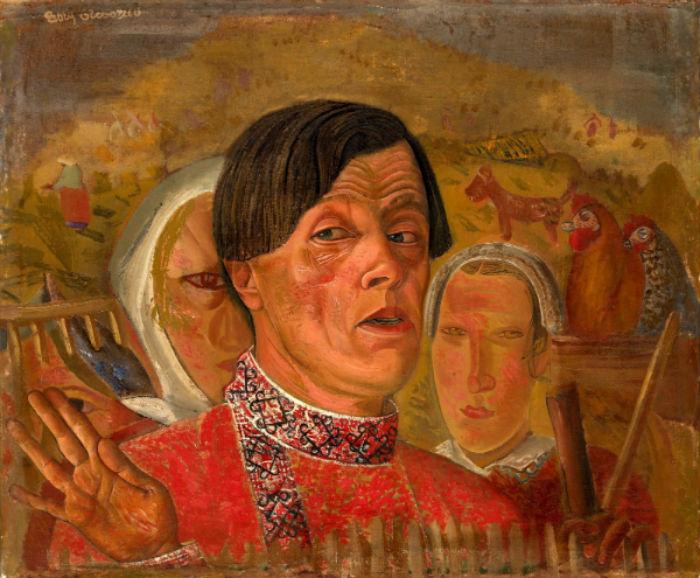Борис Григорьев - Сенокос Автопортрет с курицей и петухом - 1922-1924.jpg