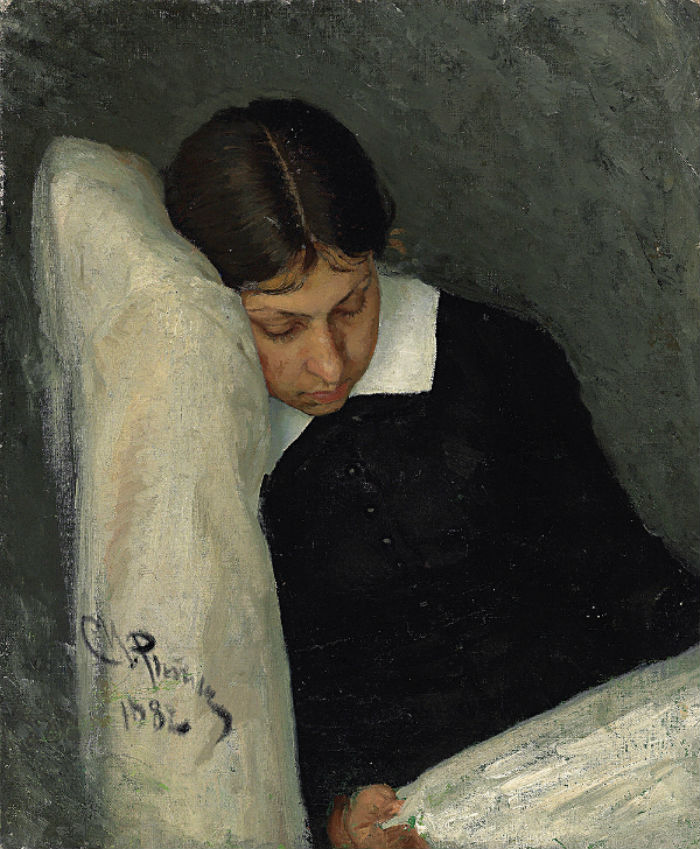 3-Илья Репин - Портрет Веры Репиной жены художника за чтением - 1882.jpg