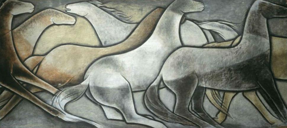 Фрэнк Альберт Мехау-младший - Дикие лошади (одна из шести панелей) - 1936.jpg