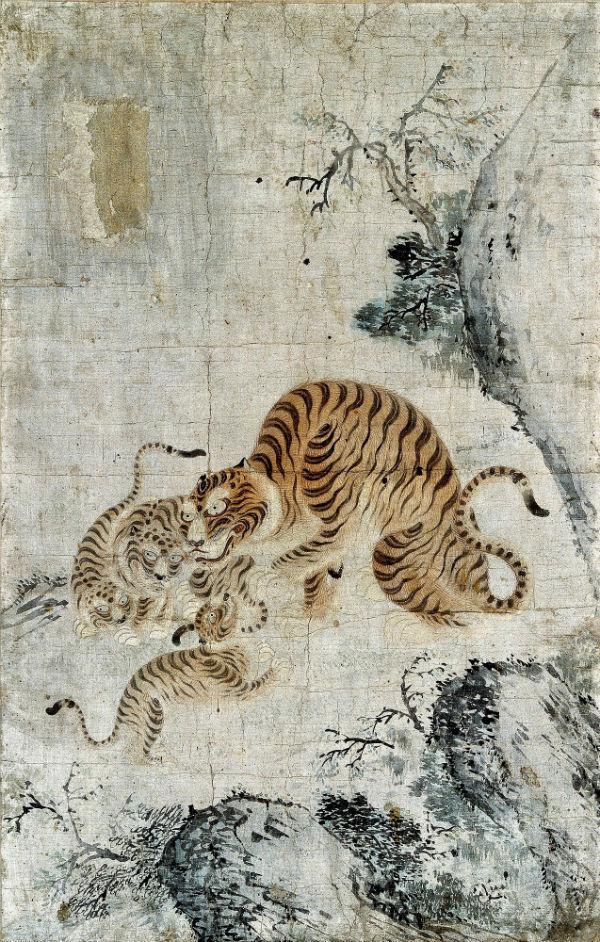 Неизвестный художник (Корея) - Семья тигров.jpg