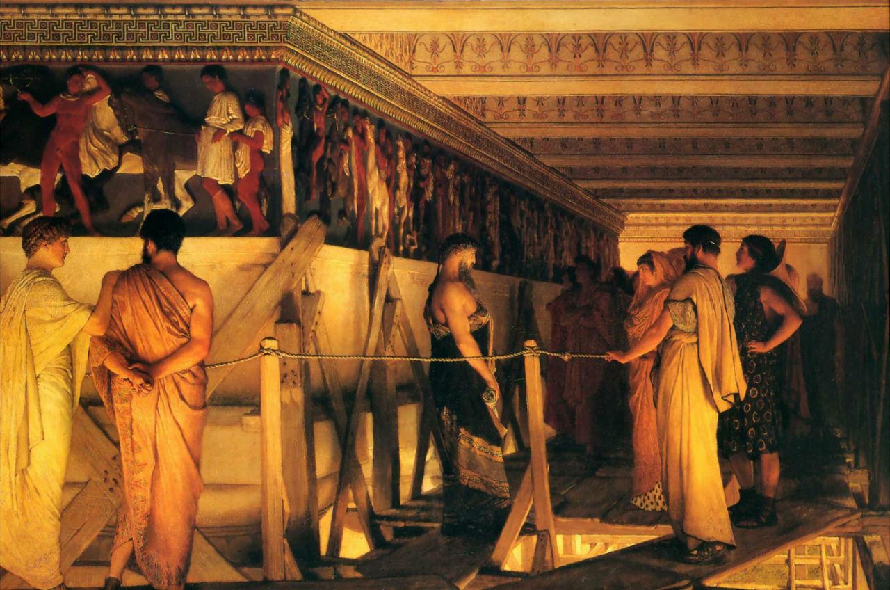 4-Фидий показывает фриз Парфенона своим друзьям - Лоуренс Альма-Тадема - 1868.jpg
