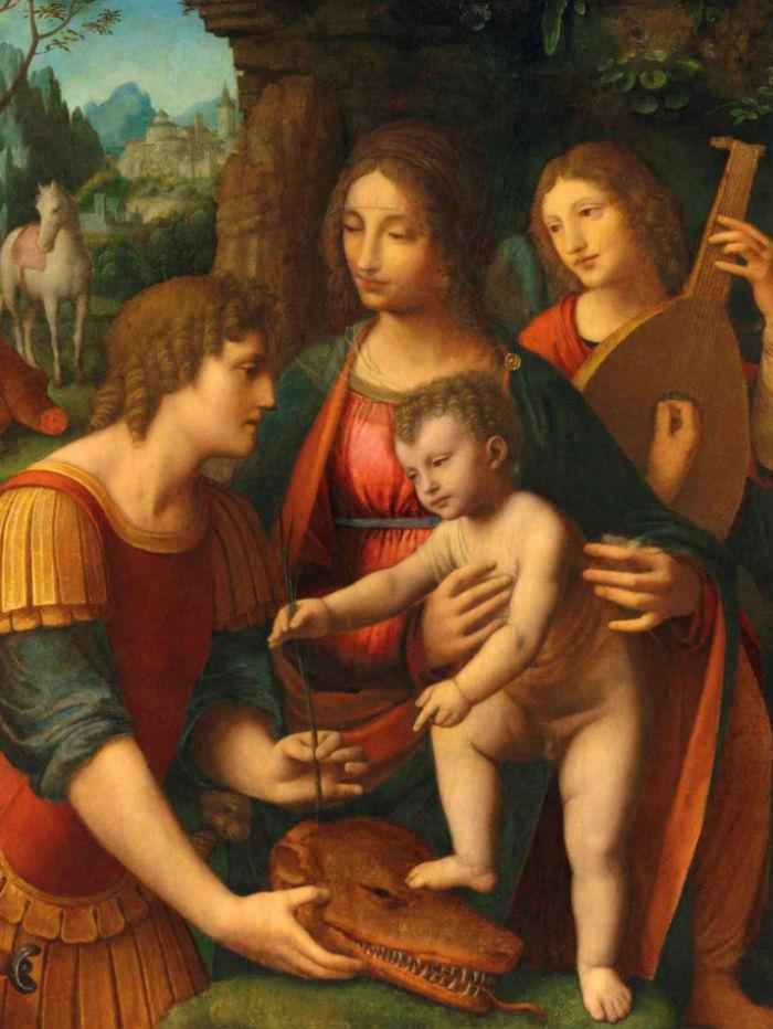 4-Бернардино Луини - Мадонна с младенцем святым Георгием и ангелом - Начало XVI века.jpg
