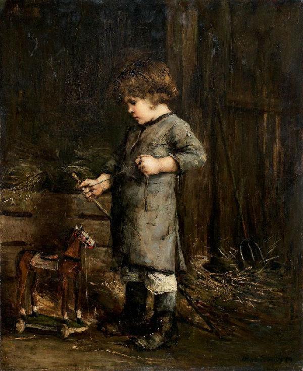7-Михай Либ Мункачи - Мальчик с деревянной лошадью - 1870-е.jpg