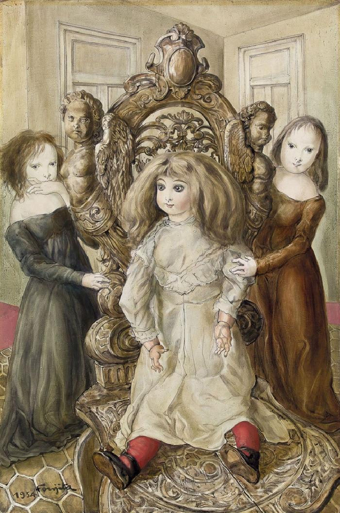 14-Цугухару Фудзита (Леонар Фужита) - Кукла и девочки - 1954.jpg