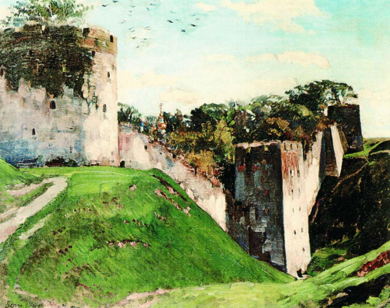 Древние стены Псково-Печерский монастырь - 1928.jpg