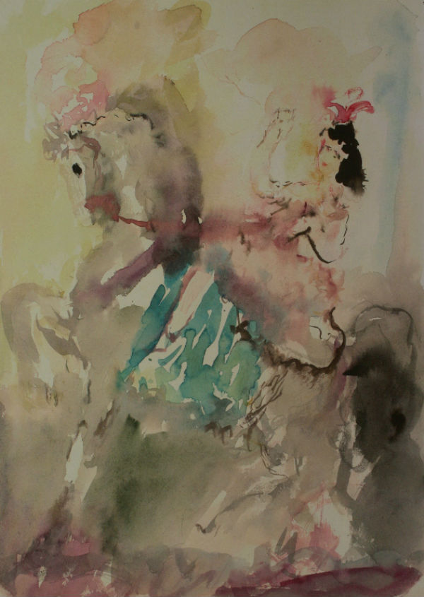26-Цирк Наездница на лошади с изумрудным чепраком - 1946.jpg