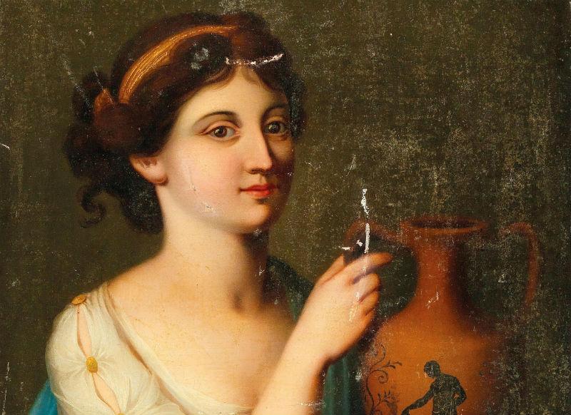 1-Ангелика Кауфман - Женщина в античном одеянии с вазой - XVIII век (фрагмент).jpg