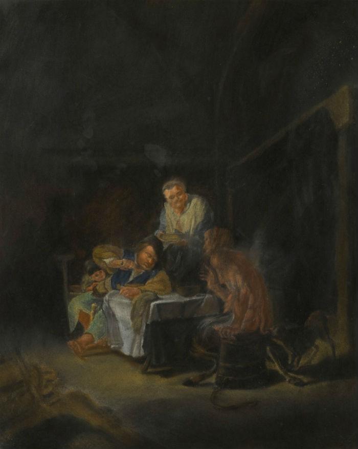 4-Рудольф фон Габсбург-Лотарингский - Сцена в интерьере с крестьянской семьёй и сатиром за столом - 1831.jpg