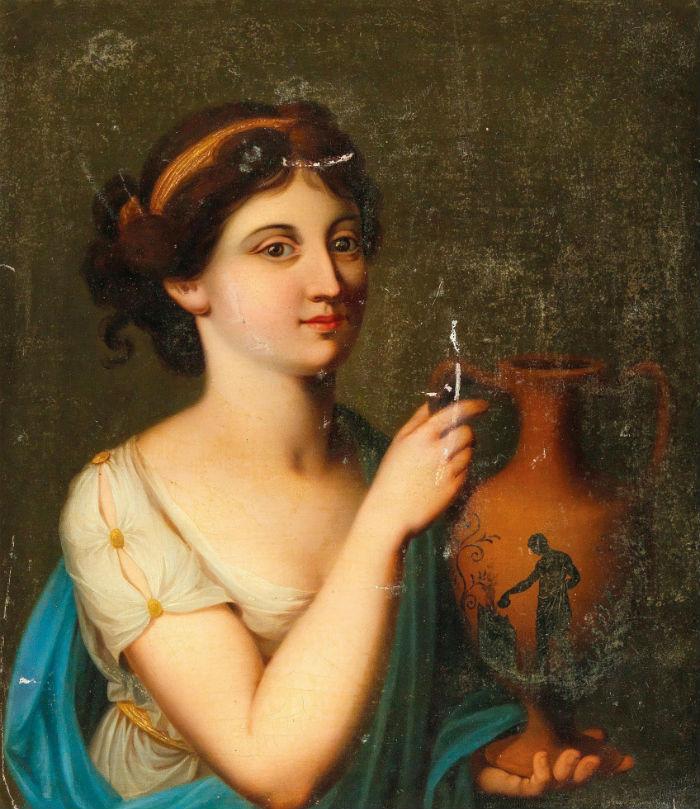 6-Ангелика Кауфман - Женщина в античном одеянии с вазой - XVIII век.jpg