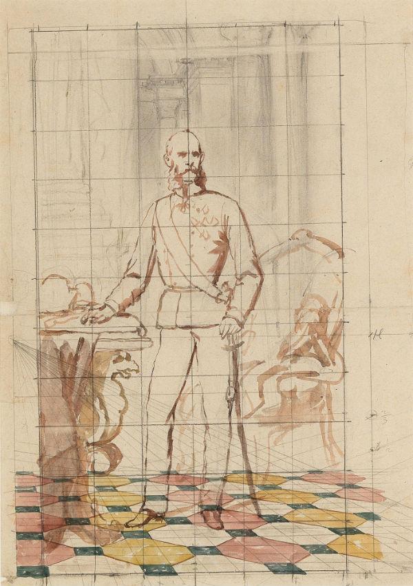 7-Карл фон Блаас - Набросок для портрета императора Франца Иосифа I Австрийского в униформе - XIX век.jpg