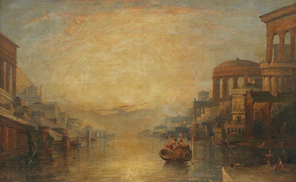 10-Неизвестный художник - Каприччо реки с классической архитектурой - XIX век.jpg