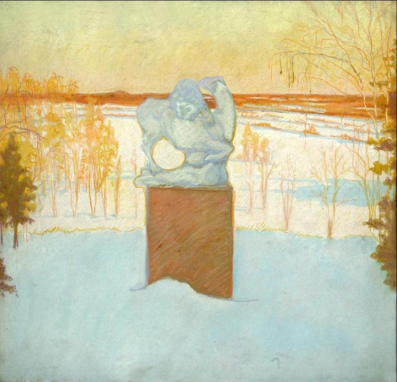 16-Пейзаж со скульптурой райки - 1910-е годы.jpg
