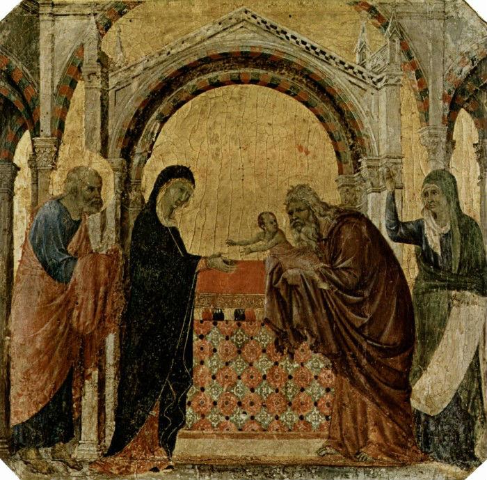 1-Дуччо ди Буонисенья (1255 до 1260-1319 Италия) - Принесение во храм - 1308-1311.jpg