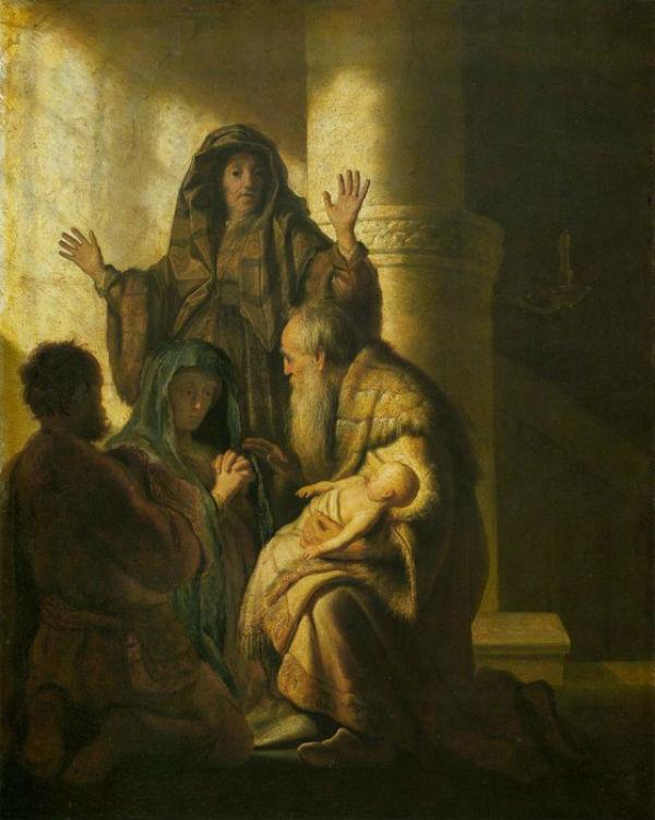 16-Рембрандт (1606-1669 Нидерланды) - Симеон и Анна узнают Господа в Иисусе - 1627.jpg