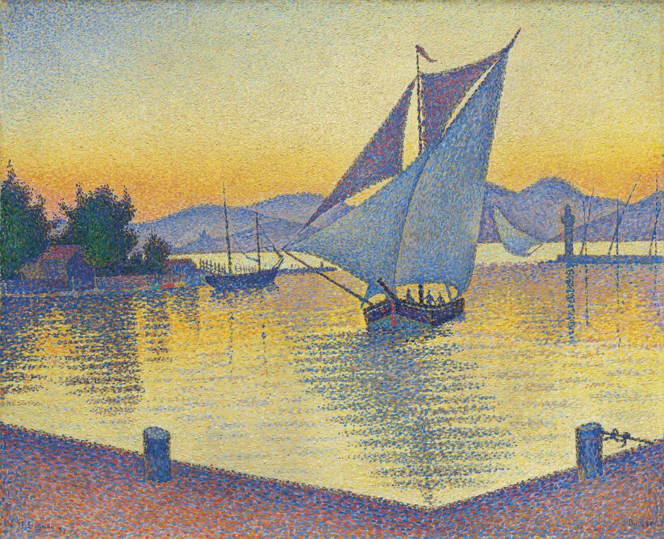 Поль Синьяк - Порт на закате (Сен-Тропе) - 1892 - Частная коллекция.jpg
