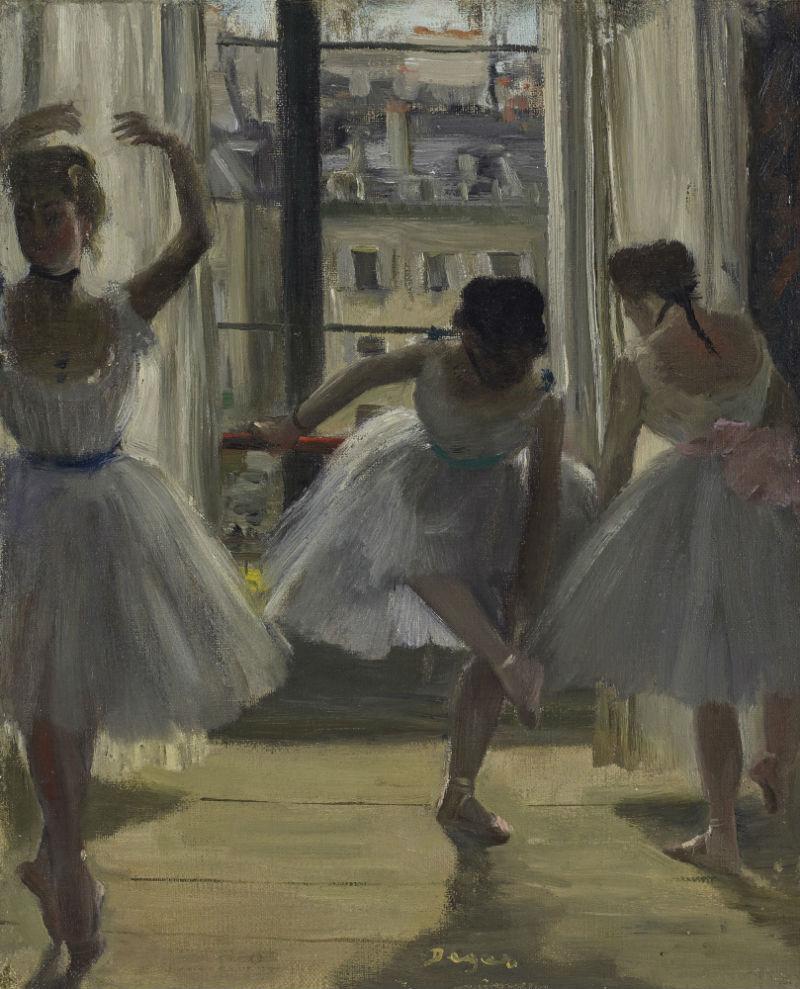 Три танцовщицы в репетиционном зале - Эдгар Дега - 1873.jpg