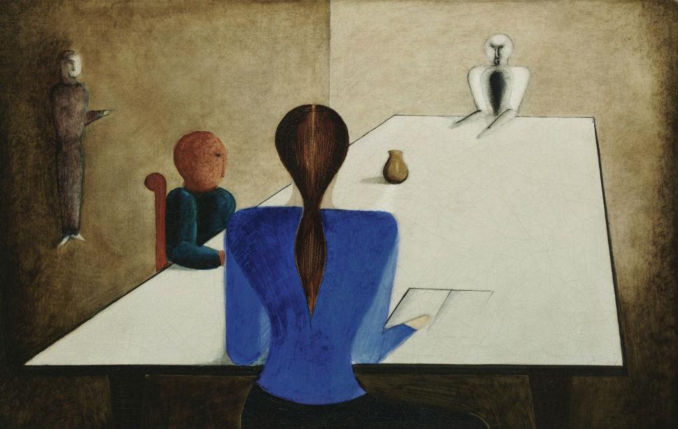 Оскар Шлеммер - Группа за столом - 1923.jpg