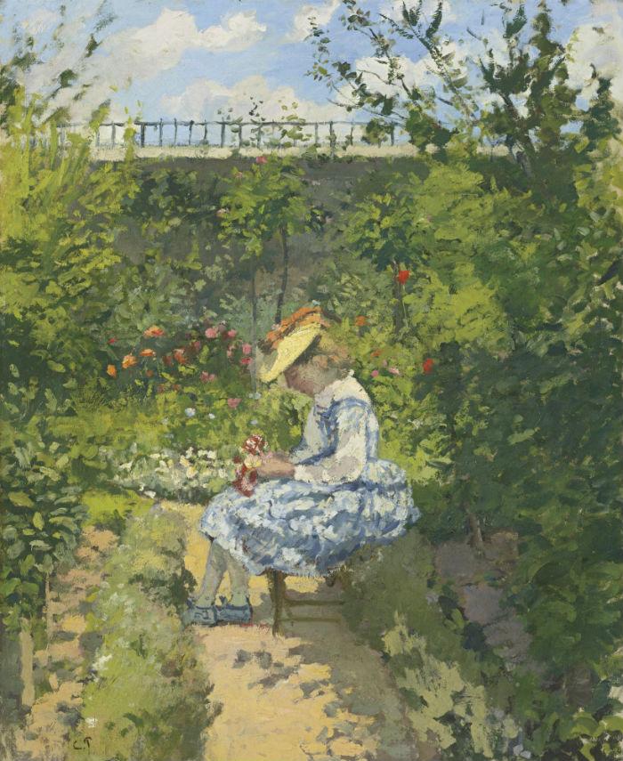 Камиль Писсаро - Жанна Писсаро читает в саду Понтуаз - 1872.jpg