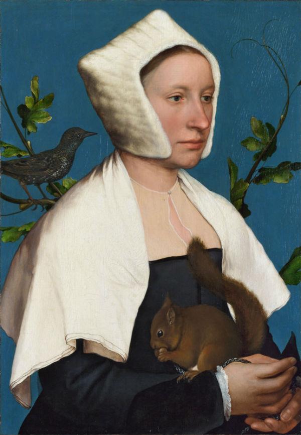Ганс Гольбейн Младший Портрет дамы с белкой и скворцом.jpg