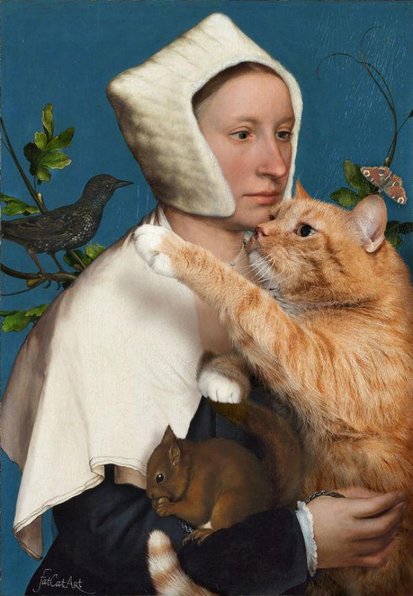 Ганс Гольбейн Младший Портрет дамы с белкой скворцом и котом.jpg