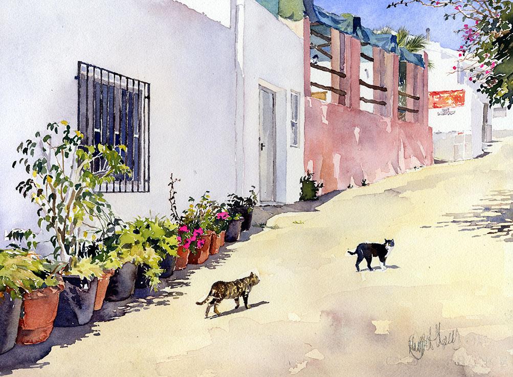 19-Деревенская улица с кошками.jpg