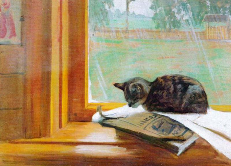 Борис Кустодиев - Кошка на окне - 1906.jpg