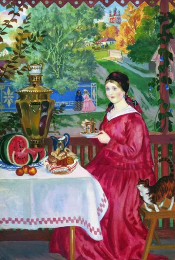 Борис Кустодиев - Купчиха на балконе - 1920 - Частнвя коллекция.jpg