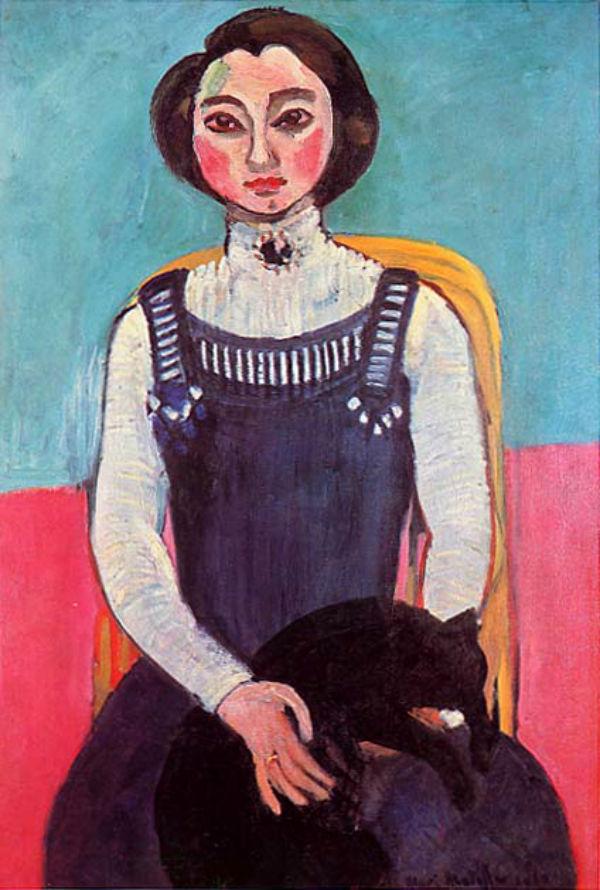 Анри Матисс - Девушка с чёрной кошкой (Портрет Маргариты) - 1910.jpg