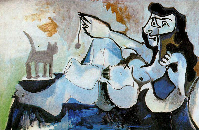 Пабло Пикассо - Лежащая обнаженная играет с кошкой.jpg