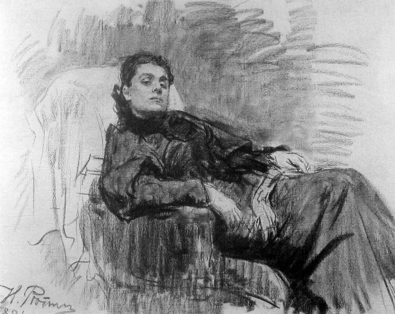 2-Илья Ефимович Репин - Портрет актрисы Элеоноры Дузе - 1891 (уголь холст) ГТГ.jpg