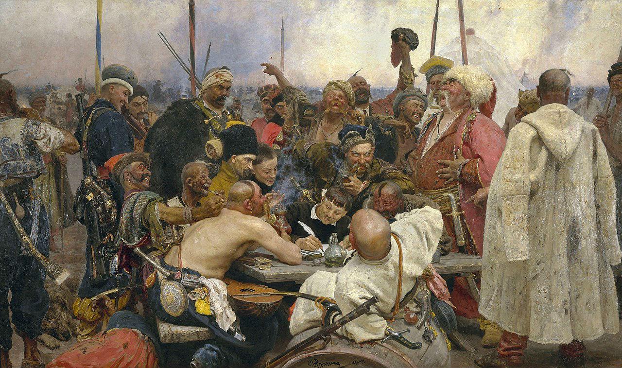 3-Илья Ефимович Репин - запорожцы пишут письмо турецкому султану 1880-1891.jpg