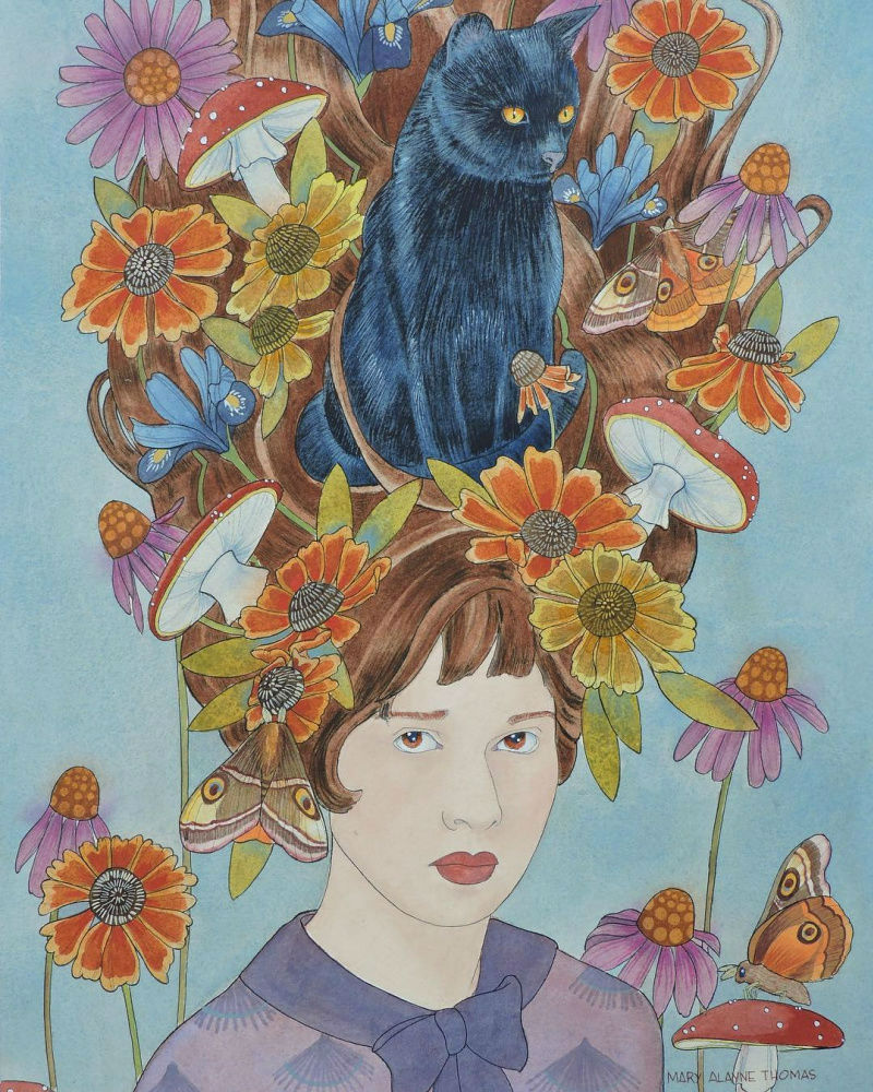 Мэри Аллан Томас - Я и мой кот.jpg