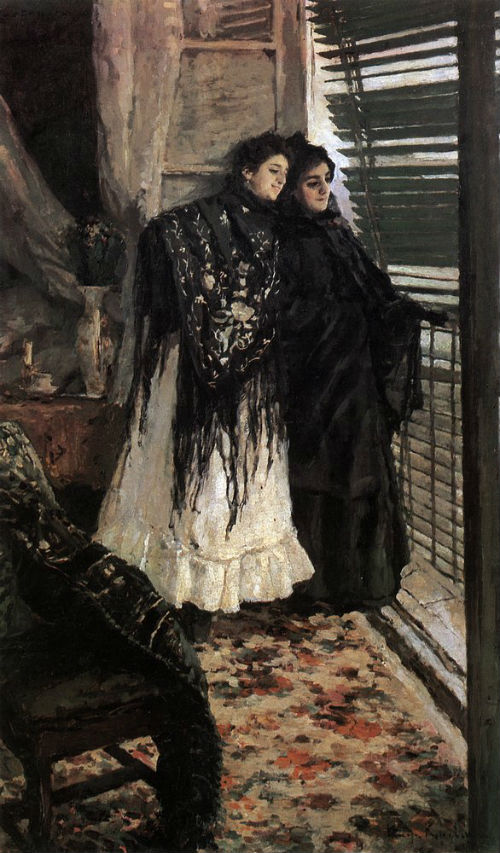 7-Константин Коровин - У балкона - Испанки Леонора и Ампара - 1886 - Государственная Третьяковская галерея.jpg